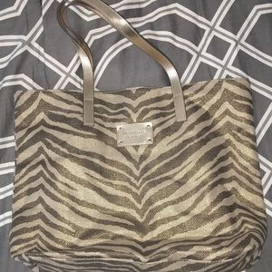 Michael Kors gold and brown tote bag